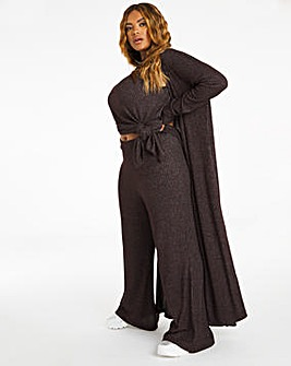 Cocoa Supersoft Ribbed Longline Cardigan