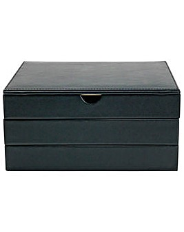 Black Leather Stacking Jewellery Box