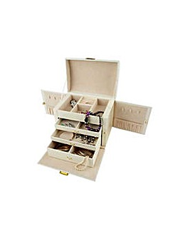 Cream Faux Leather Large Jewellery Box