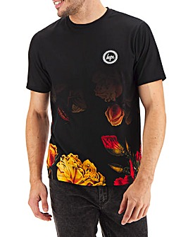Hype Dark Floral Dished T-Shirt Long