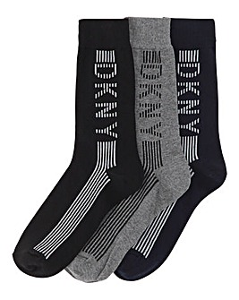 DKNY 3 Pack Vertical Stripe Socks