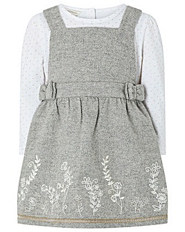 Monsoon Baby Sage Tweed Pinny And Top