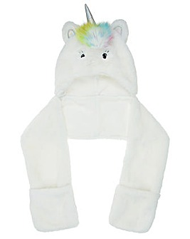 Accessorize Fluffy Unicorn Hooded Scarf