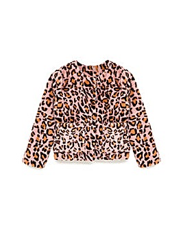 Yumi Girl Leopard Print Fur Coat