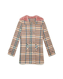 Yumi Girl Check Duffle Coat
