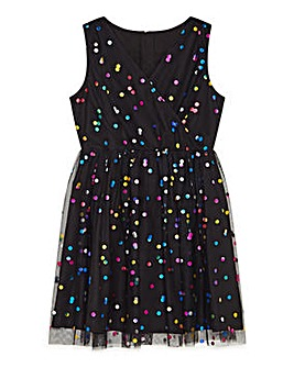 Yumi Girl Metallic Multicolour Spot Dres