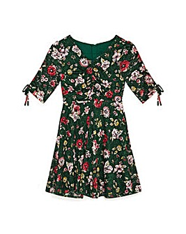 Yumi Girl Floral Ruched Tea Dress