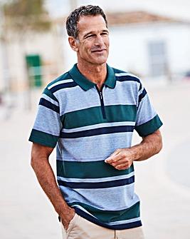 Premier Man Green Zip Neck Polo Shirt R