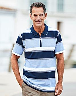 Premier Man Blue Zip Neck Polo Shirt R