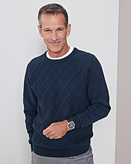 Navy Crew Neck Design Jumper Regular