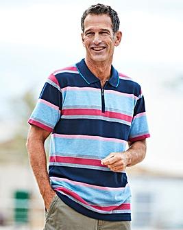 Premier Man Pink Zip Neck Polo Shirt R