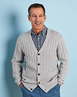 Premier Man Grey Cable Button Cardigan R