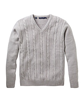 Premier Man Grey V Neck Cable Sweater R