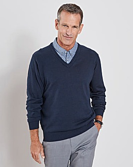 Navy Mock Shirt Jumper Regular