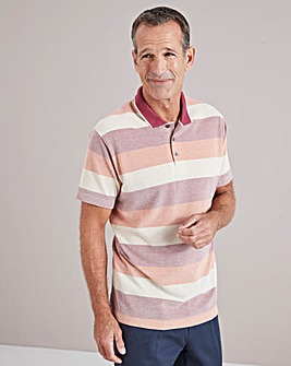 Orange Stripe Short Sleeve Polo Shirt Regular