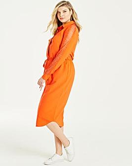Lovedrobe Lace Trim Shirt Dress