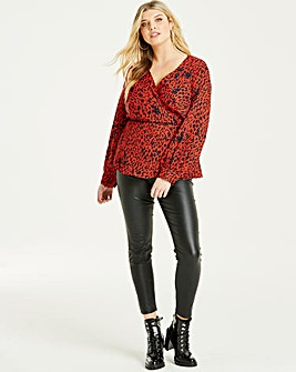 Lovedrobe Animal Print Wrap Blouse