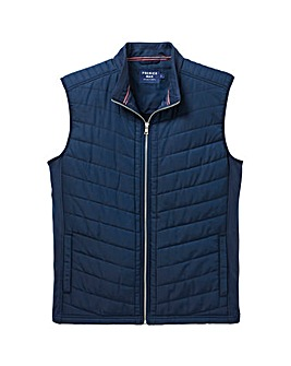 Navy Fleece Lined Quilted Gilet Regular