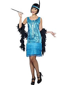 Ladies Blue Flirty Flapper 1920