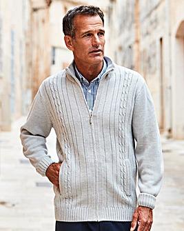 Premier Man Grey Zipper Cable Cardigan R