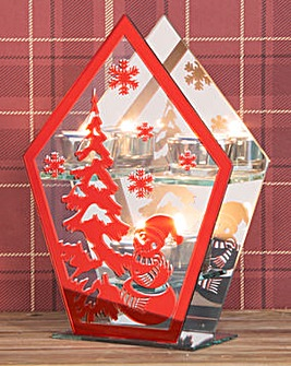 Red Christmas Scene Tealight Holder