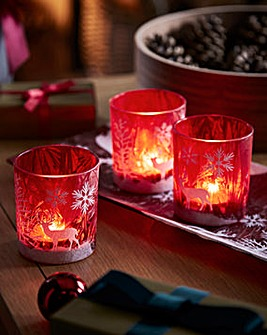 Red Glass Tealight Holders & Tray