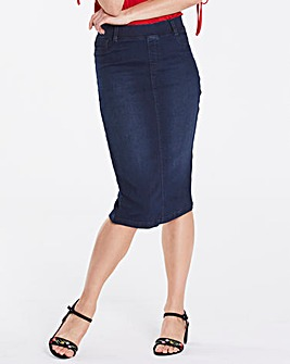 Amber Pull-on Stretch Denim Tube Skirt