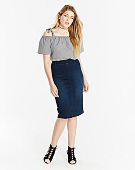 Amber Pull-on Stretch Denim Tube Skirt