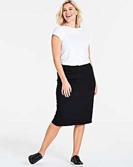 Amber Pull-On Stretch Denim Tube Skirt Length 27in