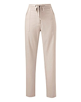 Linen Rich Tapered Leg Trousers Regular