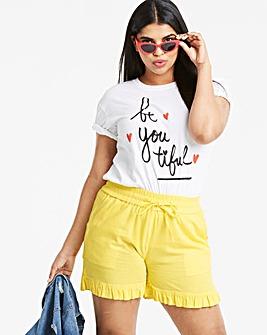 Linen Rich Frill Hem Shorts