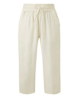 Linen Rich Frill Pocket Crop Trousers