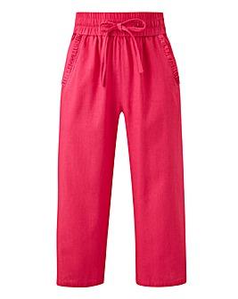 Linen Rich Frill Pocket Crop Trousers