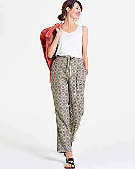 Print Linen Rich Tapered Leg Trousers