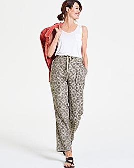 Print Linen Rich Tapered Leg Trousers