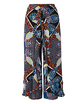 Blue & Coral Crinkle Wrap Crop Trousers