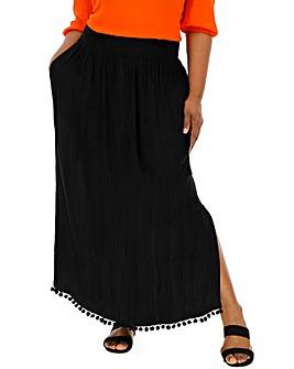 Black Crinkle Pom Pom Trim Maxi Skirt