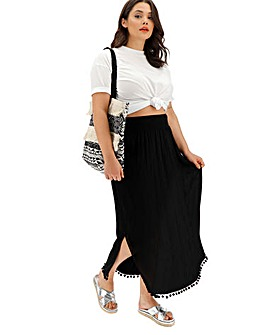 Black Crinkle Pom Pom Trim Maxi Skirt