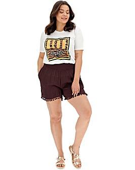 Aubergine Crinkle Pom Pom Hem Shorts