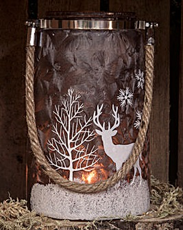Brown Frosted Reindeer Motif Lantern