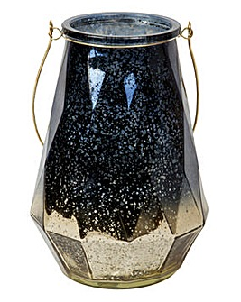 Blue & Copper Hurricane Glass Lantern