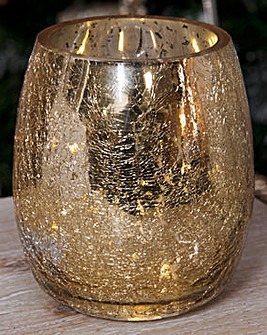 Gold Glass Vase with LED Bulbs