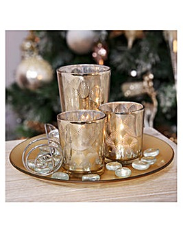 Gold Glass Votive Holders with Tray