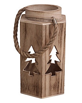 Wooden Christmas Tree Lantern