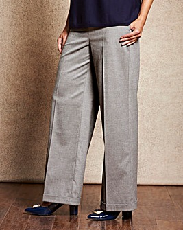 Grey Wide Leg Wool Look Trousers