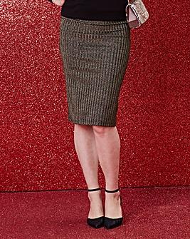 Black and Gold Stripe Metallic Elasticated Waist Tube Skirt