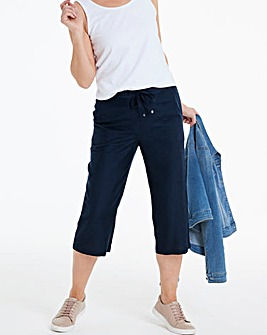 Petite Easy Care Linen Mix Crop Trousers