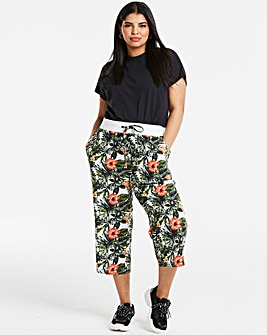 Floral Slouch Linen Rich Crop Trousers