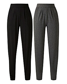 Pack of 2 Jersey Tapered Leg Trousers Long