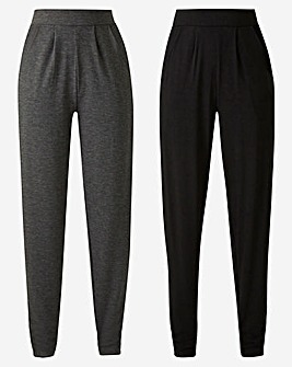 Petite Pack of 2 Stretch Jersey Tapered Leg Trousers